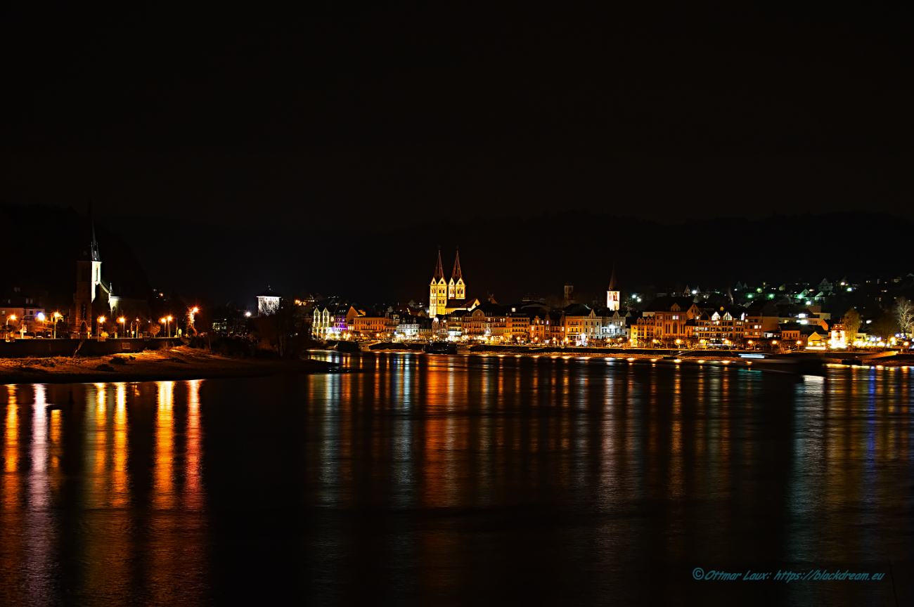 Boppard am Mittel Rhein, the City in the Night.